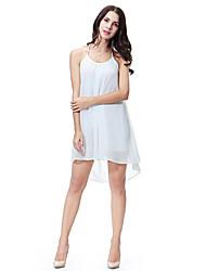 cheap -Women's Daily Basic Chiffon Dress - Solid Colored Black Wine White S M L XL