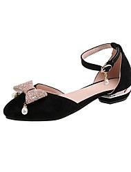 cheap -Women's Sandals Low Heel Pointed Toe Bowknot / Sequin / Imitation Pearl Synthetics Spring & Summer Black / Pink / Beige / Wedding / Party & Evening