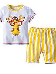 cheap -Kids Boys' Basic Christmas Home Deer Print Cartoon Print Short Sleeve Regular Regular Clothing Set White