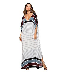 cheap -Women's Loose Dress - Stripes White One-Size
