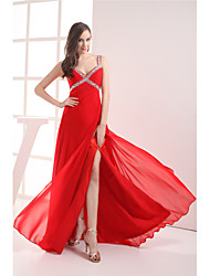 cheap -A-Line Elegant Formal Evening Dress V Neck Sleeveless Floor Length Chiffon with Ruched Beading Split 2021