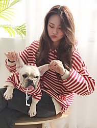 cheap -Dog Costume Hoodie Matching Outfits Stripes Stripes Fashion Casual / Daily Weekend Winter Dog Clothes Warm Black Red Coffee Costume Plush Cotton Women M S M L