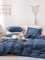 cheap -Duvet Cover Sets 4 Piece Cotton Solid Colored White Applique Contemporary