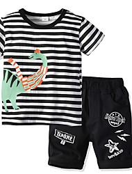 cheap -Kids Boys' Basic Christmas Home Striped Print Short Sleeve Regular Regular Clothing Set Black