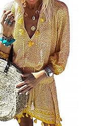 cheap -Women's Sheath Dress Yellow Fuchsia Orange Green Long Sleeve Solid Colored Spring & Summer Deep V 2021 S M L XL
