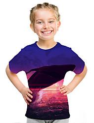cheap -Kids Girls' Active Street chic 3D Print Short Sleeve Tee Purple