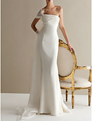 cheap -A-Line Wedding Dresses One Shoulder Sweep / Brush Train Lace Tulle Strapless Formal Plus Size with Draping Lace Insert 2020