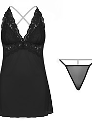 cheap -Women's Lace / Mesh Babydoll & Slips / Suits Nightwear Solid Colored Black Red One-Size