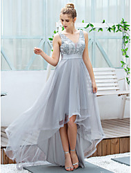 cheap -A-Line V Neck Asymmetrical Tulle Elegant / Grey Cocktail Party / Prom Dress with Appliques / Embroidery 2020