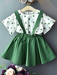 cheap -Kids Girls' Basic Polka Dot Short Sleeve Clothing Set Red