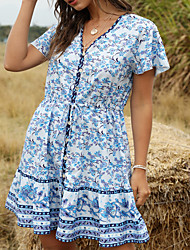 cheap -Women's / Ladies 2020 Date Street Bohemia T-shirt Sleeve Swing Dress - Bohemian Style Tropical Leaf, Printing V Neck Spring & Summer Black Blushing Pink Blue S M L XL Belt Not Included