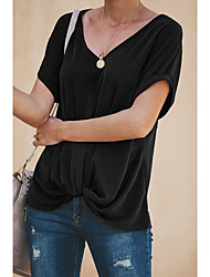 cheap -Women's Daily Basic T-shirt - Solid Colored Pleated Black