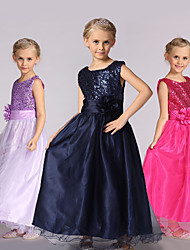 cheap -Princess Dress Girls' Movie Cosplay Cosplay Halloween Black / Golden / White Dress Halloween Carnival Masquerade Tulle Polyester Sequin