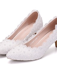 cheap -Women's Wedding Shoes Low Heel Pointed Toe Wedding Lace White / Pink / Rainbow