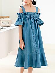 cheap -Kids Girls' Cute Boho Solid Colored Short Sleeve Midi Dress Royal Blue