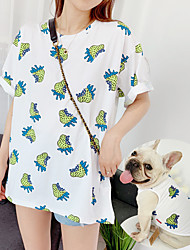 cheap -Dog Cat Costume Vest Matching Outfits Floral Botanical Casual / Sporty Cute Sports Casual / Daily Dog Clothes Breathable Yellow Green Costume Cotton Women M S M L XL XXL