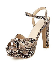 cheap -Women's Sandals Print Shoes Chunky Heel Peep Toe Buckle PU Summer Red / White / Brown / Party & Evening / Party & Evening