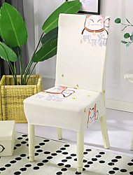 cheap -High Quality Printed Fortune Cat Spandex Chair Covers For Dining Room Chair Cover For Party Chair Cover For Wedding Living Room Chair Covers