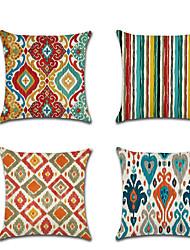 cheap -Set of 4 Linen Pillow Cover Boho Premium  Color Block Geometic Throw Pillow 45*45 cm