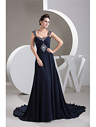 cheap -A-Line Elegant Formal Evening Dress Sweetheart Neckline Sleeveless Court Train Chiffon with Ruched Beading 2020