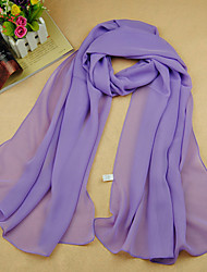 cheap -Women's Work / Basic / Cute Chiffon Rectangle Scarf - Solid Colored