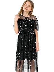 cheap -Kids Girls' Polka Dot Long Sleeve Above Knee Dress Black
