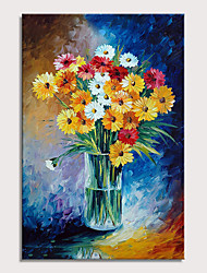 cheap -Oil Painting Hand Painted - Still Life Floral / Botanical Modern Stretched Canvas
