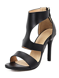 cheap -Women's Sandals Stiletto Heel Pointed Toe Synthetics Summer Black / Brown / White / Wedding / Party & Evening