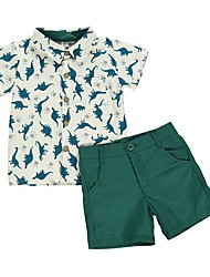 cheap -Baby Boys' Basic Print Short Sleeve Regular Clothing Set Green / Toddler