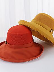 Недорогие -Жен. Активный Классический Симпатичные Стиль Широкополая шляпа Шляпа от солнца Хлопок,Однотонный Весна Лето Черный Розовый Оранжевый