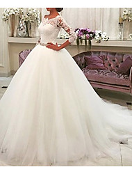 cheap -A-Line Wedding Dresses Jewel Neck Sweep / Brush Train Lace Tulle 3/4 Length Sleeve Formal Illusion Sleeve with Lace Draping 2020