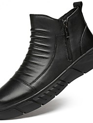 cheap -Men's Combat Boots Leather Fall & Winter Boots Mid-Calf Boots Black