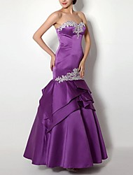 cheap -Mermaid / Trumpet Strapless Floor Length Polyester Elegant Engagement / Formal Evening Dress 2020 with Appliques