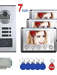 cheap -7 inch 3 Apartment/Family Video Door Phone Intercom System RFID IR-CUT HD 1000TVL Camera Doorbell Camera  Waterproof