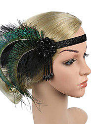 cheap -Retro Traditional / Classic Stretch Stripes / Fabrics Headpiece with Feather / Pendant / Crystals 1 / box Wedding / Carnival Headpiece