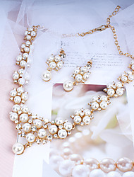 cheap -Women's Gold Hoop Earrings Necklace Bridal Jewelry Sets Classic Stylish Basic Imitation Pearl Earrings Jewelry Gold For Wedding Party Engagement Two-piece Suit