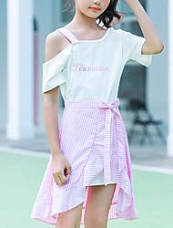 cheap -Kids Girls' Boho Street chic Dress Striped Bow Drawstring Short Sleeve Regular Regular Clothing Set White