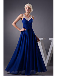 cheap -A-Line Elegant Engagement Formal Evening Dress Jewel Neck Sleeveless Floor Length Chiffon with Beading 2021