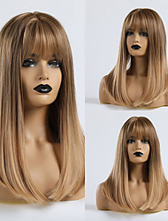 cheap -Synthetic Wig Straight Matte Lily Neat Bang Wig Blonde Medium Length Light golden Synthetic Hair 20 inch Women's Party Ombre Hair Blonde