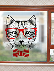 cheap -Cute Kitty Pattern Matte Window Film Cling Vinyl Thermal-Insulation Privacy Protection Home Decor For Window Cabinet Door Sticker / Window Sticker