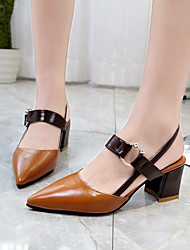 cheap -Women's Heels Chunky Heel Pointed Toe PU Business / Vintage Spring &  Fall / Spring & Summer Brown / Beige / Party & Evening