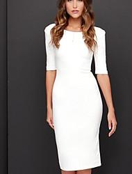 cheap -Women's Slim Sheath Dress - Solid Colored Black White S M L XL