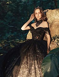 cheap -Ball Gown Wedding Dresses Off Shoulder Court Train Lace Tulle Short Sleeve Sexy Black Modern with Lace Appliques 2020
