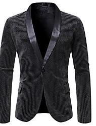 cheap -Men's Blazer Shawl Lapel Polyester Brown / Gray
