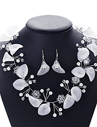 cheap -Women's Crystal Bridal Jewelry Sets Transparent Flower Elegant Vintage Earrings Jewelry White For Party Wedding 1 set