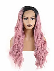 cheap -Synthetic Lace Front Wig Body Wave Side Part Lace Front Wig Long Black / Pink Synthetic Hair 18-26 inch Women's Heat Resistant Synthetic Easy dressing Pink Ombre / Natural Hairline