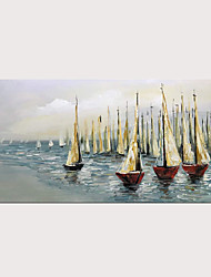 cheap -Oil Hand Painting Sailing Boat on Blue Sea Warm Color Artwork for Home Decoration with Stretched Frame Ready to Hang