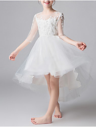 cheap -A-Line Asymmetrical First Communion Flower Girl Dresses - Cotton Half Sleeve Jewel Neck with Appliques