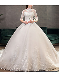 cheap -A-Line Wedding Dresses Jewel Neck Sweep / Brush Train Lace Half Sleeve Casual Plus Size Illusion Sleeve with Lace Insert 2020