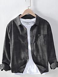 cheap -Men's Daily Plus Size Linen Shirt - Floral Black / Long Sleeve
